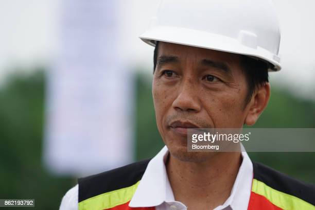 Joko Widodo Indonesia's president attends the inauguration of the MedanKualanamuTebing Tinggi toll road in Medan North Sumatra Indonesia on Friday...