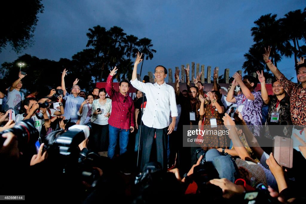 Joko Widodo, the new President-Elect of Indonesia, speaks to his supporters on July 23, 2014 in Jakarta, Indonesia. Widodo, known by his nickname Jokowi to most Indonesians, won 53% of the votes in a close and hotly contested election by Indonesia's election commission on Tuesday.