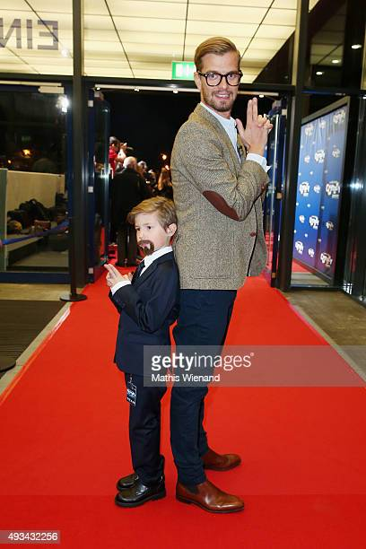 Joko Winterscheidt and boy dressed up as Klaas HeuferUmlauf attend the 19th Annual German Comedy Awards at Coloneum on October 20 2015 in Cologne...