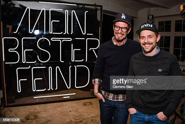 Joko Winterscheidt and Klaas HeuferUmlauf attend a photo call for the tv show 'Mein bester Feind' at FluxBau on November 26 2014 in Berlin Germany