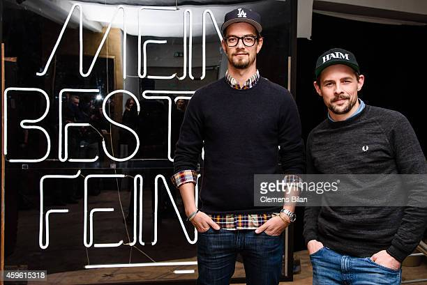 Joko Winterscheidt and Klaas HeuferUmlauf attend a photo call for the tv show 'Mein bester Feind' at FluxBau on November 26 2014 in Berlin Germany