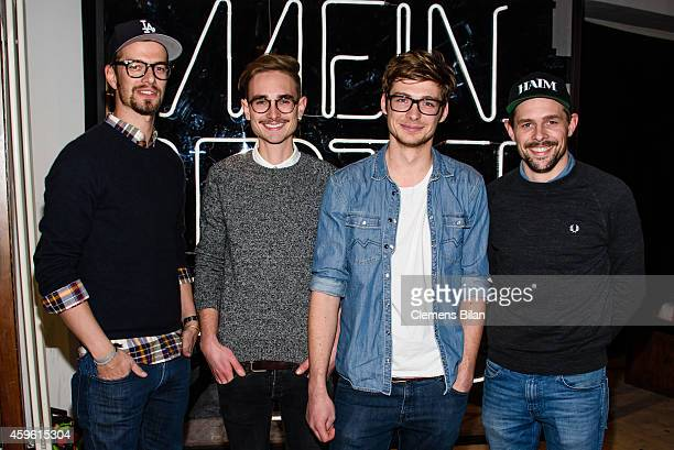 Joko Winterscheidt Jakob Jaan and Klaas HeuferUmlauf attend a photo call for the tv show 'Mein bester Feind' at FluxBau on November 26 2014 in Berlin...
