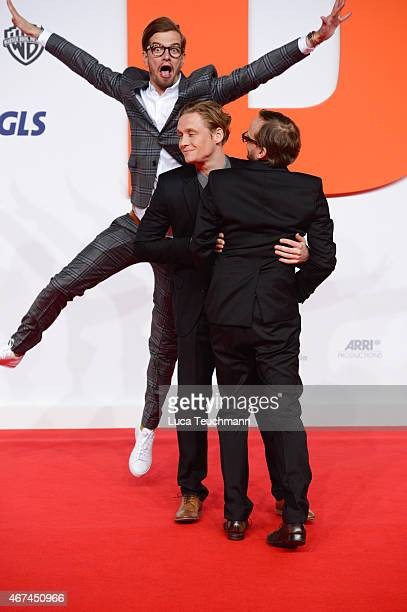 Joko Winterscheidt Matthias Schweighoefer and Milan Peschel attend the German premiere of the film 'Der Nanny' at CineStar on March 24 2015 in Berlin...