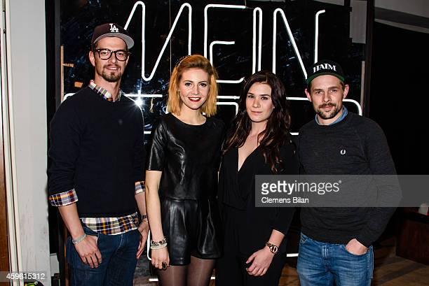 Joko Winterscheidt Selina Lena and Klaas HeuferUmlauf attend a photo call for the tv show 'Mein bester Feind' at FluxBau on November 26 2014 in...