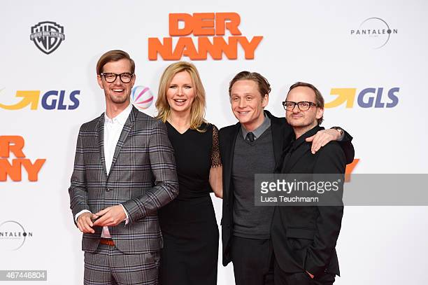 Joko Winterscheidt Veronica Ferres Matthias Schweighoefer and Milan Peschel attend the German premiere of the film 'Der Nanny' at CineStar on March...