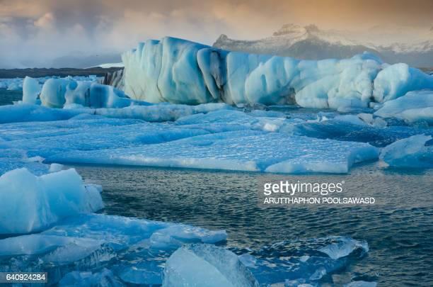 Jokulsalon iceland , Bright white icebergs creaking in blue lagoon glacier panorama Iceland