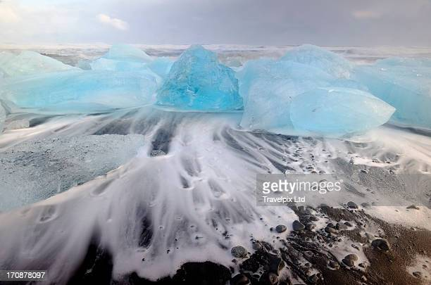 Jokulsarlon, icebergs washed onto shore