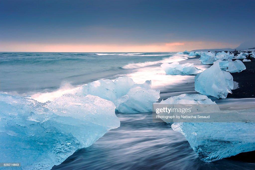 Jokulsarlon with icebergs beached Iceland.