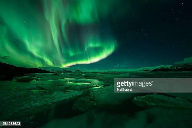 Jokusarlon Lagoon and the northern lights