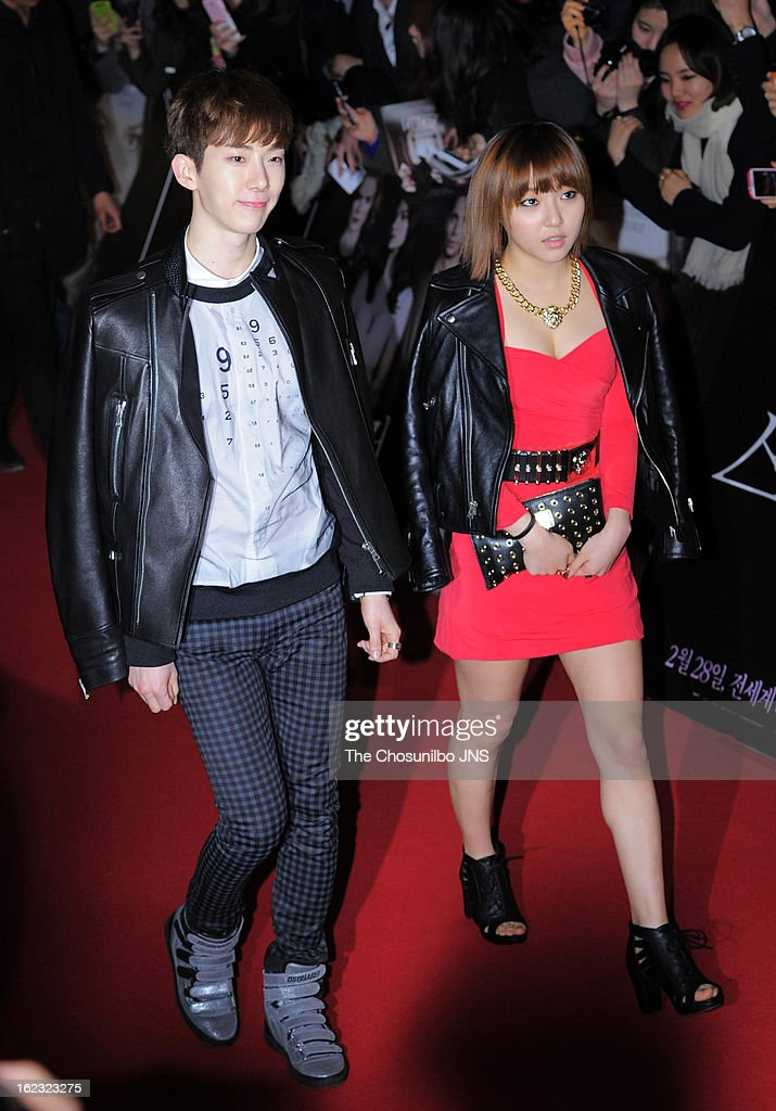 JoKwon of 2am and MIN of Miss A attend the 'Stoker' Red Carpet VIP Press Screening at Yeouido CGV on February 21 2013 in Seoul South Korea