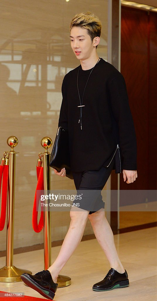 JoKwon of 2AM poses for photographs during the ROSAK X Nich Khun showcase at Lotte Hotel World on August 26 2014 in Seoul South Korea