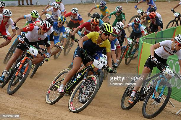 Jolanda Neff of Poland Jenny Rissveds of Sweden and Jovana Crnogorac of Serbia race during the Women's CrossCountry Mountain Bike Race on Day 15 of...