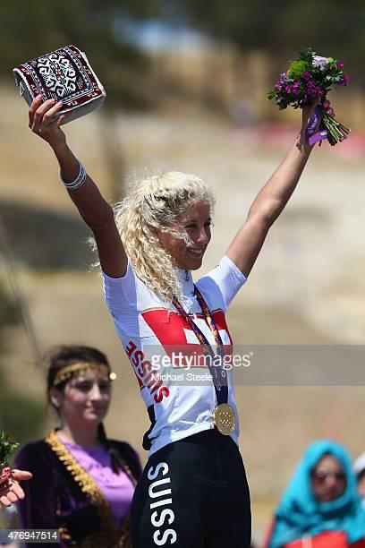 Jolanda Neff of Switzerland celebrates winning gold in the Womens' Crosscountry Mountain Bike Cycling during day one of the Baku 2015 European Games...