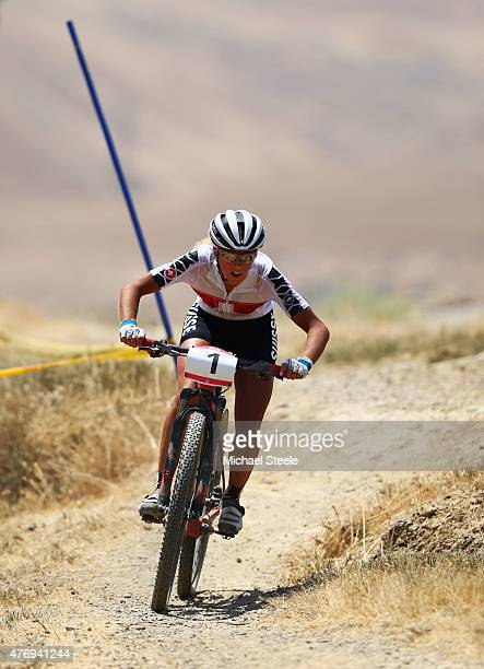 Jolanda Neff of Switzerland competes in the Women's Crosscountry Mountain Bike Cycling during day one of the Baku 2015 European Games at Mountain...