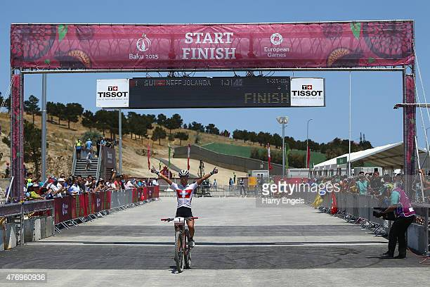 Jolanda Neff of Switzerland crosses the line to win the Womens' Crosscountry Mountain Bike Cycling during day one of the Baku 2015 European Games at...