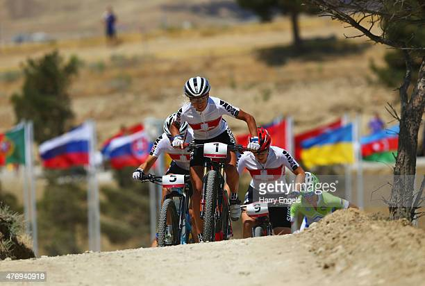 Jolanda Neff of Switzerland leads the field in the Women's Crosscountry Mountain Bike Cycling during day one of the Baku 2015 European Games at...