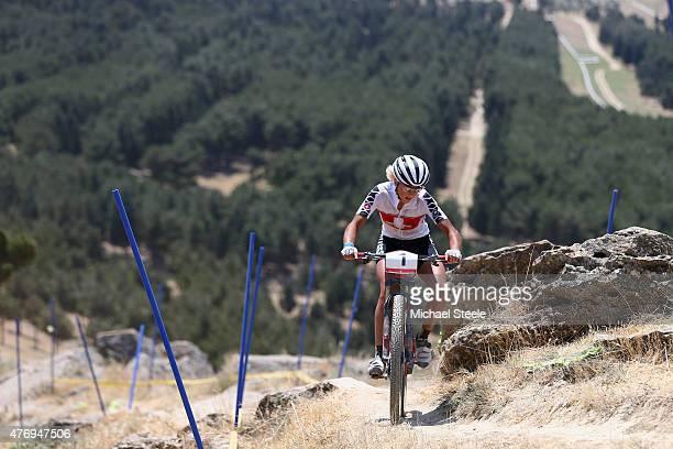 Jolanda Neff of Switzerland on her way to winning gold in the Womens' Crosscountry Mountain Bike Cycling during day one of the Baku 2015 European...