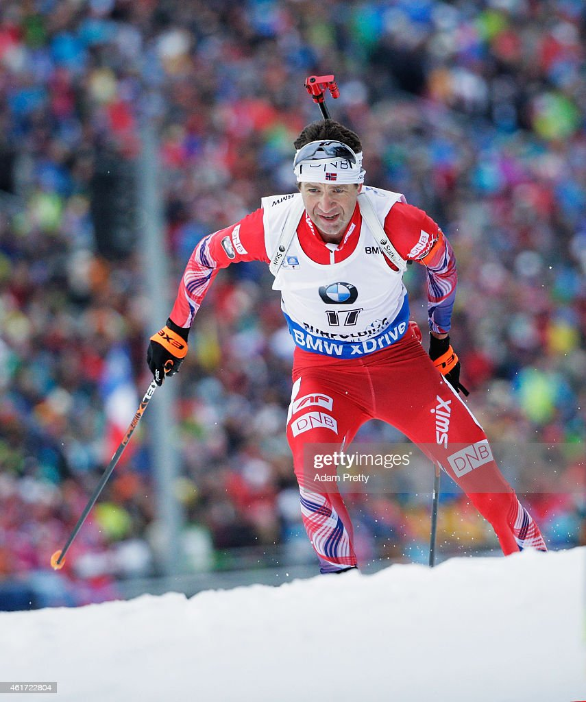 J<a gi-track='captionPersonalityLinkClicked' href=/galleries/search?phrase=Ole+Einar+Bjoerndalen&family=editorial&specificpeople=206663 ng-click='$event.stopPropagation()'>Ole Einar Bjoerndalen</a> of Norway in action during the IBU Biathlon World Cup Men's Mass Start on January 18, 2015 in Ruhpolding, Germany.