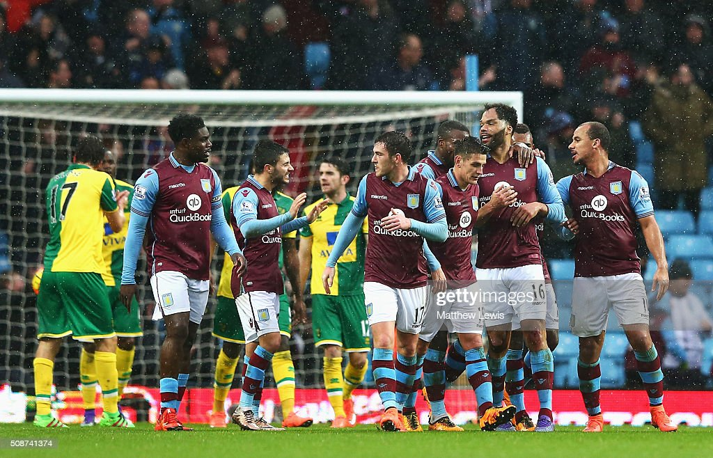 <a gi-track='captionPersonalityLinkClicked' href=/galleries/search?phrase=Joleon+Lescott&family=editorial&specificpeople=687246 ng-click='$event.stopPropagation()'>Joleon Lescott</a> (2nd R) of Aston Villa celebrates scoring his team's first goal with his team mates during the Barclays Premier League match between Aston Villa and Norwich City at Villa Park on February 6, 2016 in Birmingham, England.