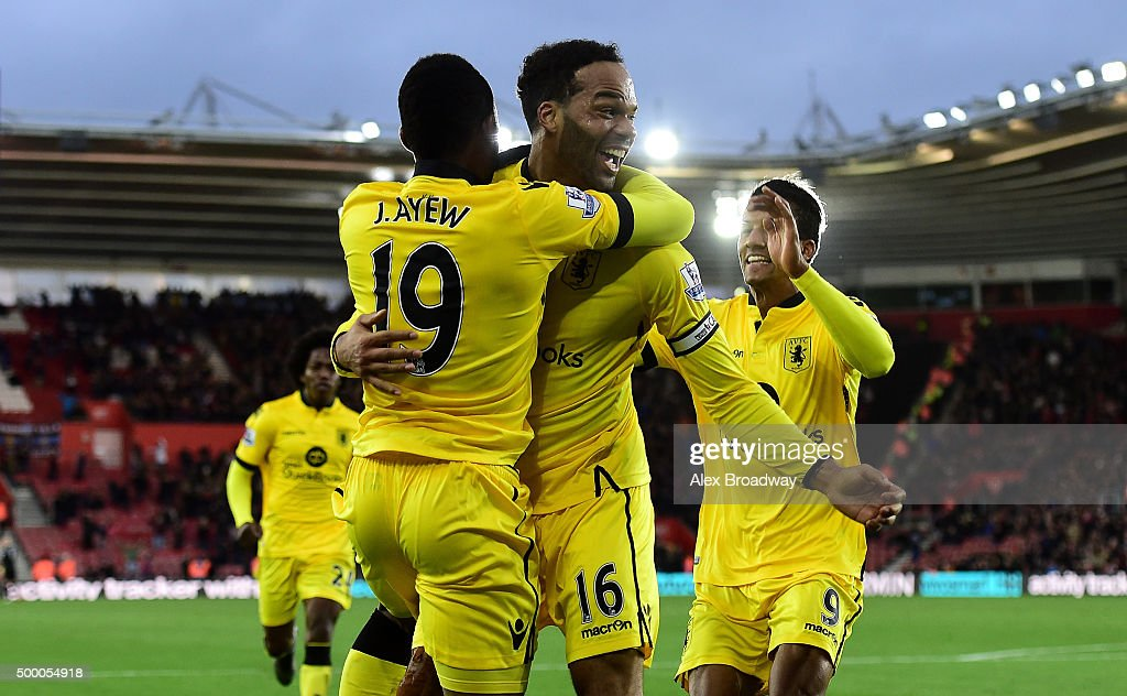 <a gi-track='captionPersonalityLinkClicked' href=/galleries/search?phrase=Joleon+Lescott&family=editorial&specificpeople=687246 ng-click='$event.stopPropagation()'>Joleon Lescott</a> of Aston Villa celebrates scoring his team's frist goal with his team mate <a gi-track='captionPersonalityLinkClicked' href=/galleries/search?phrase=Jordan+Ayew&family=editorial&specificpeople=6595555 ng-click='$event.stopPropagation()'>Jordan Ayew</a> during the Barclays Premier League match between Southampton and Aston Villa at St Mary's Stadium on December 5, 2015 in Southampton, England.