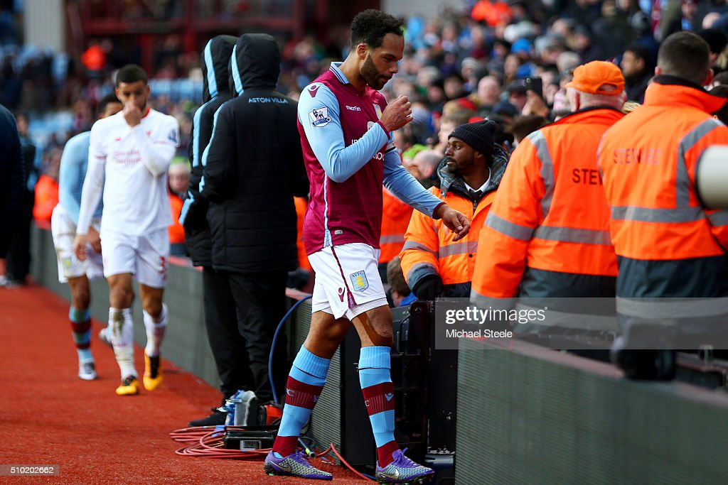 <a gi-track='captionPersonalityLinkClicked' href=/galleries/search?phrase=Joleon+Lescott&family=editorial&specificpeople=687246 ng-click='$event.stopPropagation()'>Joleon Lescott</a> of Aston Villa shows his dejection after the Barclays Premier League match between Aston Villa and Liverpool at Villa Park on February 14, 2016 in Birmingham, England.