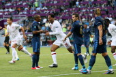 Joleon Lescott of England turns to celebrate scoring the first goal during the UEFA EURO 2012 group D match between France and England at Donbass...