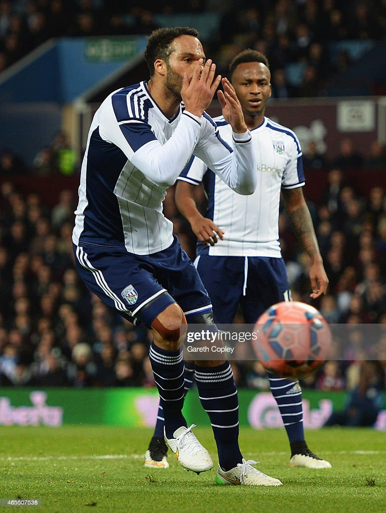 <a gi-track='captionPersonalityLinkClicked' href=/galleries/search?phrase=Joleon+Lescott&family=editorial&specificpeople=687246 ng-click='$event.stopPropagation()'>Joleon Lescott</a> of West Bromwich Albion reacts as he misses a clear chance during the FA Cup Quarter Final match between Aston Villa and West Bromwich Albion at Villa Park on March 7, 2015 in Birmingham, England.