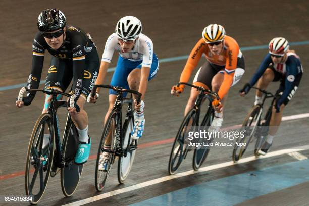 Jolien D'Hoore of Belgium Giorgia Bronzini of Italy Kirsten Wild of Netherlands and Sarah Hammer of the United States compete in the Women's Points...