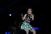 Jolin Tsai performs on stage during Hyundai Stars Concert at Guangzhou International Sports Arena on October 10 2014 in Guangzhou China