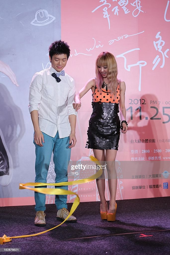 Jolin Tsai showed up on Li-an Wei's 2012 concert press conference to support him on Thursday September 27, 2012 in Hong Kong, China.