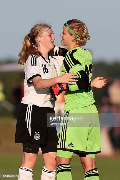 Jolina Opladen and Lea Paulick of Germany celebrate after the international friendly match between U16 Girl's Germany and U16 Girl's Denmark on...