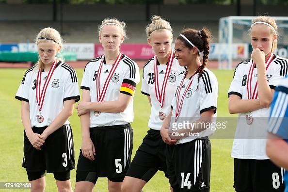 Jolina OpladenAnnalena Rieke Paula Roesselinh and Fatma Sakar of Germany appears frustrated after the Girl's Nordic Cup match between U16 Netherlands...
