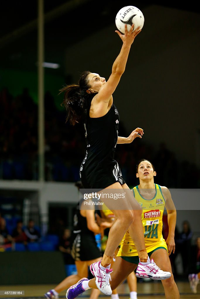 Joline Henry of New Zealand takes a pass during the International Test match between the New Zealand Silver Ferns and the Australian Diamonds at...