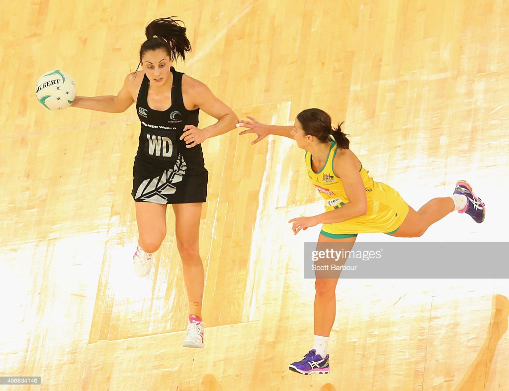 Joline Henry of the Silver Ferns and Madison Robinson of the Diamonds compete for the ball during the International Test match between the New...