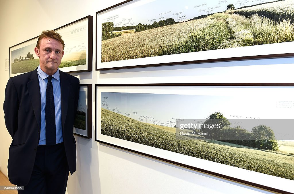 Jolyon Fenwick attends his exhibition launch party of 'The Zero Hour Panoramas' by Jolyon Fenwick. The exhibition consists of 14 photographic panoramas showcasing, '100 Years on: Views From The Parapet of the Somme', at Sladmore Contemporary on June 30, 2016 in London, England.