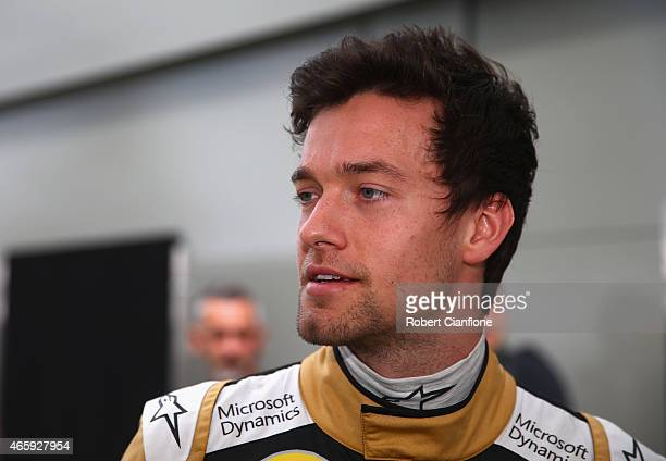 Jolyon Palmer of Great Britain and Lotus is seen in the pit paddock during previews to the Australian Formula One Grand Prix at Albert Park on March...