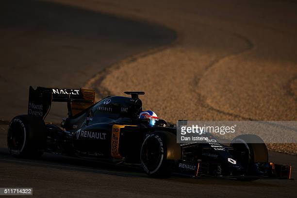 Jolyon Palmer of Great Britain and Renault Sport drives during day one of F1 winter testing at Circuit de Catalunya on February 22 2016 in Montmelo...