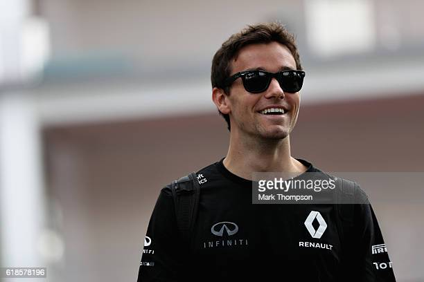 Jolyon Palmer of Great Britain and Renault Sport F1 arrives at the circuit during previews to the Formula One Grand Prix of Mexico at Autodromo...