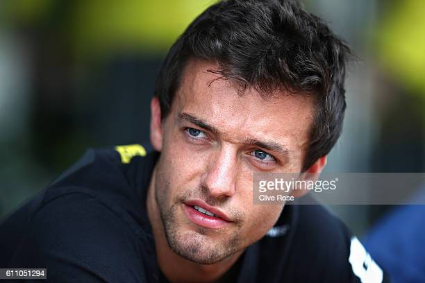 Jolyon Palmer of Great Britain and Renault Sport F1 in the Paddock during previews for the Malaysia Formula One Grand Prix at Sepang Circuit on...