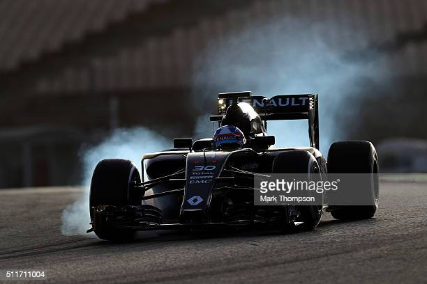 Jolyon Palmer of Great Britain and Renault Sport locks up during day one of F1 winter testing at Circuit de Catalunya on February 22 2016 in Montmelo...