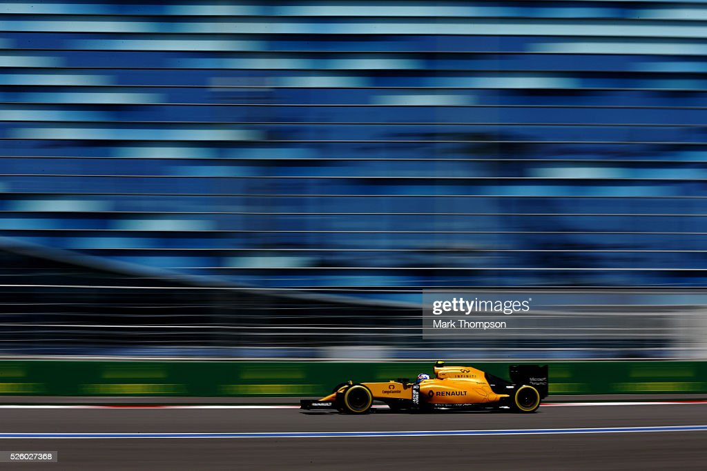 Jolyon Palmer of Great Britain driving the (30) Renault Sport Formula One Team Renault RS16 Renault RE16 turbo on track during practice for the Formula One Grand Prix of Russia at Sochi Autodrom on April 29, 2016 in Sochi, Russia.