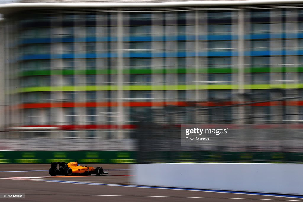 <a gi-track='captionPersonalityLinkClicked' href=/galleries/search?phrase=Jolyon+Palmer&family=editorial&specificpeople=7493068 ng-click='$event.stopPropagation()'>Jolyon Palmer</a> of Great Britain driving the (30) Renault Sport Formula One Team Renault RS16 Renault RE16 turbo on track during final practice ahead of the Formula One Grand Prix of Russia at Sochi Autodrom on April 30, 2016 in Sochi, Russia.