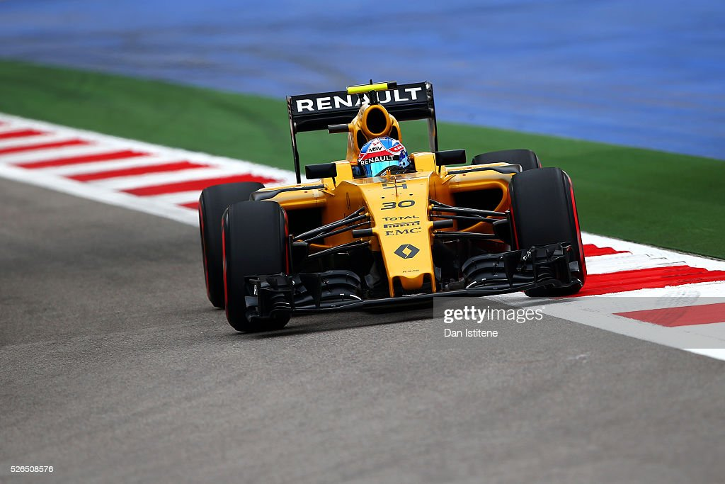 Jolyon Palmer of Great Britain driving the (30) Renault Sport Formula One Team Renault RS16 Renault RE16 turbo on track during qualifying for the Formula One Grand Prix of Russia at Sochi Autodrom on April 30, 2016 in Sochi, Russia.