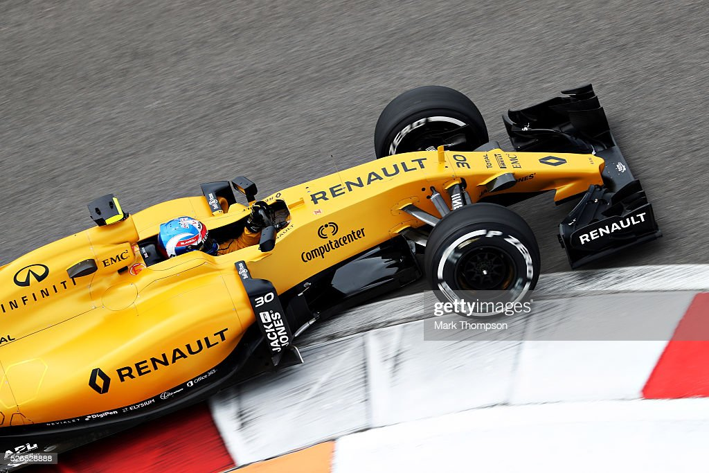 Jolyon Palmer of Great Britain driving the (30) Renault Sport Formula One Team Renault RS16 Renault RE16 turbo on track during final practice ahead of the Formula One Grand Prix of Russia at Sochi Autodrom on April 30, 2016 in Sochi, Russia.