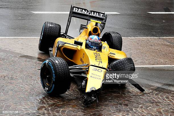 Jolyon Palmer of Great Britain driving the Renault Sport Formula One Team Renault RS16 Renault RE16 turbo pulls off the track during the Monaco...