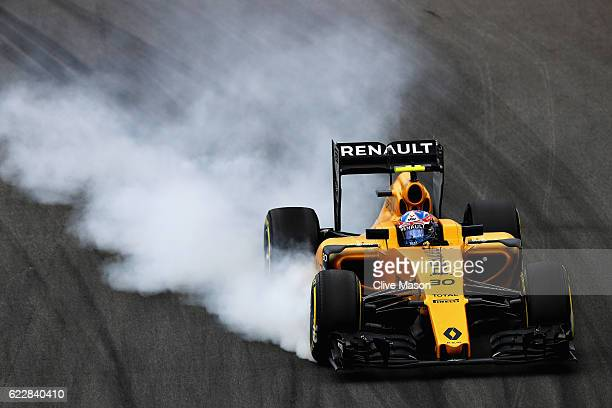 Jolyon Palmer of Great Britain driving the Renault Sport Formula One Team Renault RS16 Renault RE16 turbo locks a wheel under braking on track during...