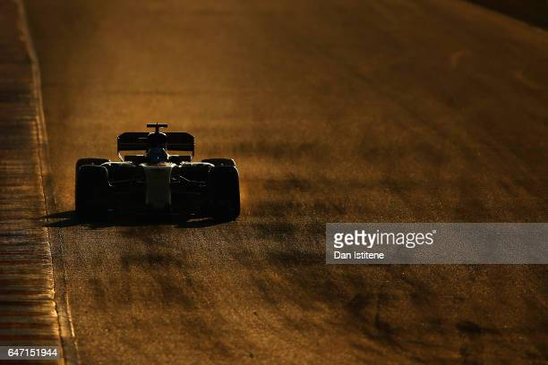 Jolyon Palmer of Great Britain driving the Renault Sport Formula One Team Renault RS17 on track during day four of Formula One winter testing at...