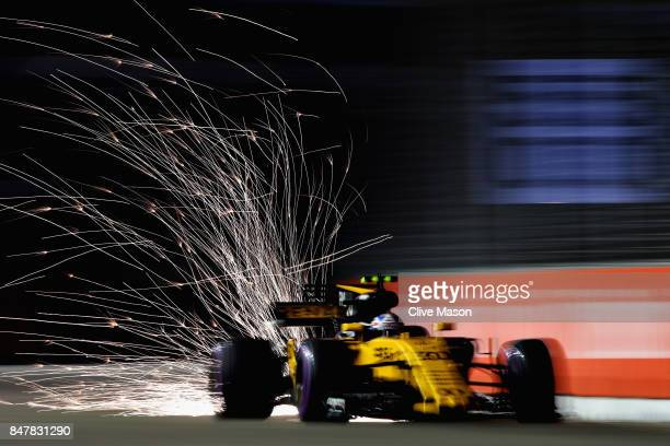Jolyon Palmer of Great Britain driving the Renault Sport Formula One Team Renault RS17 on track during qualifying for the Formula One Grand Prix of...