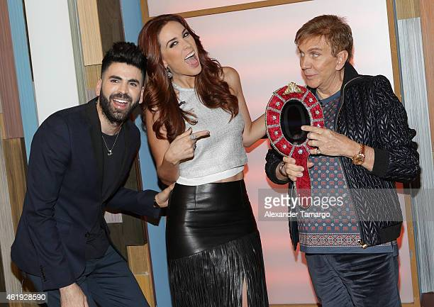 Jomari Goyso Jacqueline Bracamontes and Osmel Sousa make an appearance on the set of Despierta America at Univision Headquarters on January 21 2015...