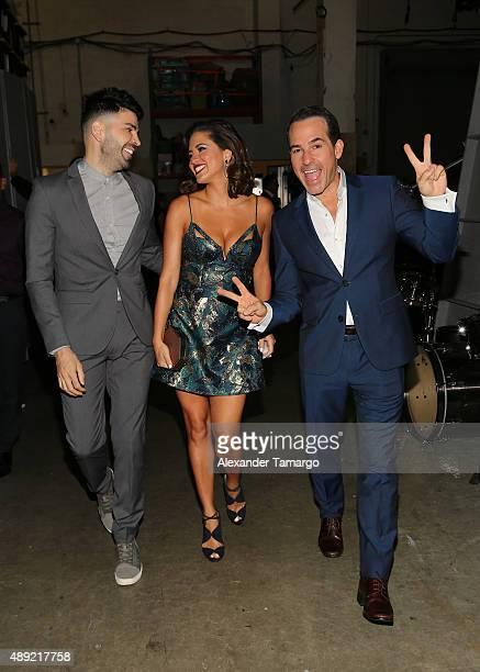 Jomari Goyso Pamela Silva Conde and Carlos Calderon are seen in the VIP area at Univision's 'Sabado Gigante' Finale at Univision Studios on September...